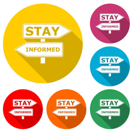 Stay informed sign icon, color set with long shadow