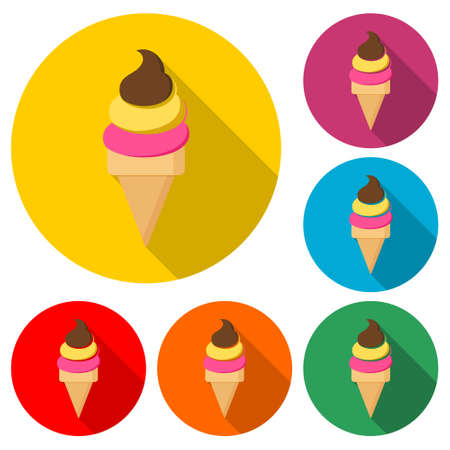 Ice Cream icon or logo - Simple Illustration, color set with long shadow