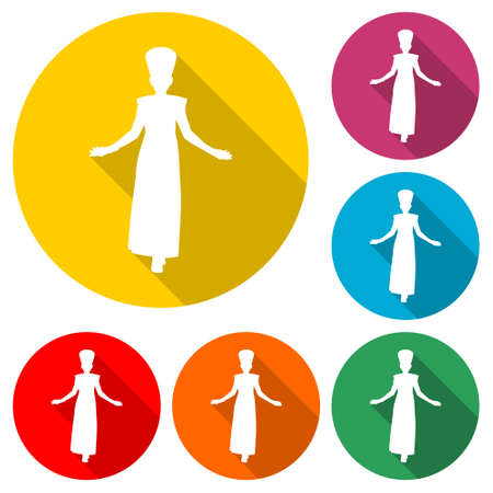 Egyptian silhouette icon , Queen Nefertiti, Cleopatra silhouette, color set with long shadow