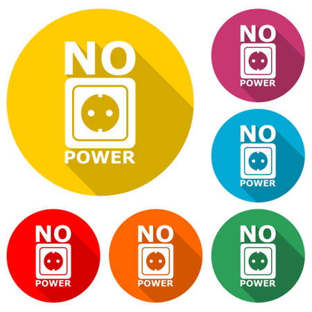 No Power icon , color set with long shadow