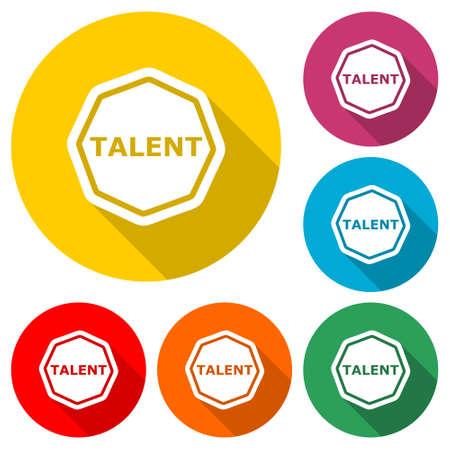 Talent icon or logo, color set with long shadow Illusztráció