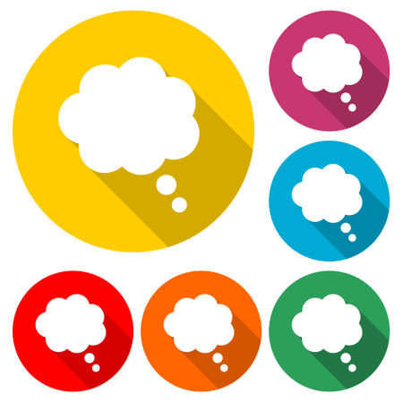 Thought cloud, Thought cloud icon or logo, color set with long shadow