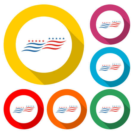 American flag abstract, USA flag icon or logo, color set with long shadow