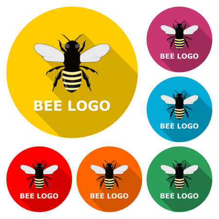 Bee logo for bee or honey business icon, color set with long shadow