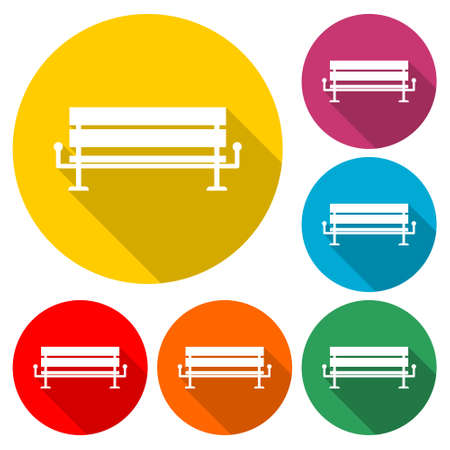 Bench icon or logo, color set with long shadow