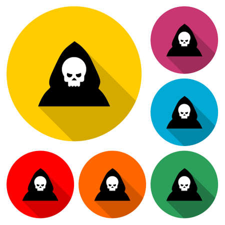 Death icon or logo, color set with long shadow