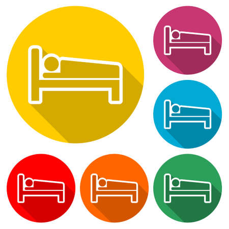 Hospital bed icon, bed icon symbol sleep night hotel motel, color set with long shadow