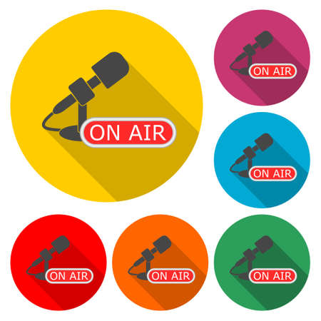 Microphone with signboard on air icon, color set with long shadow