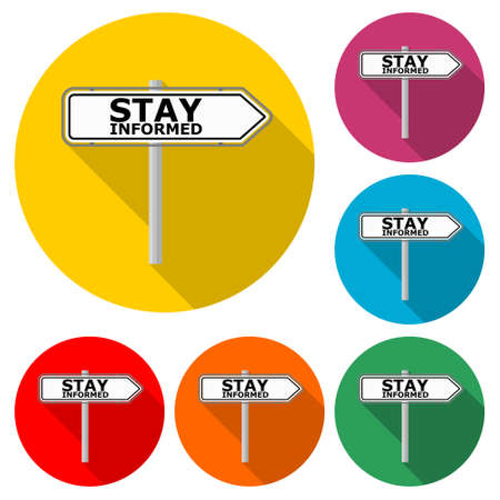 Stay informed road sign icon, color set with long shadow Vector Illustratie