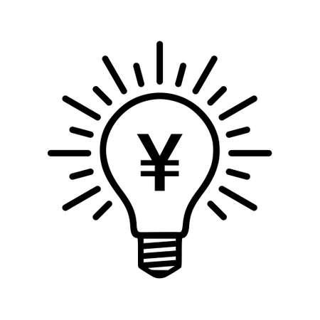 Light bulb with yen, yuan symbol