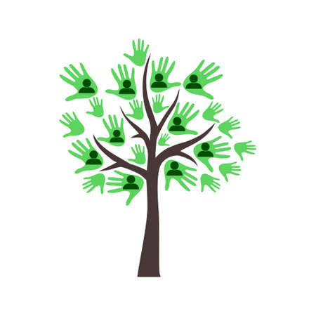 Family tree template with people icons Vettoriali