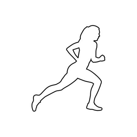 Healthy running, Silhouette healthy runner, Abstract running woman 일러스트