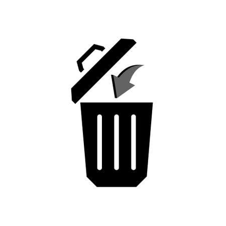 Trash bin or trash can symbol icon or logo 일러스트