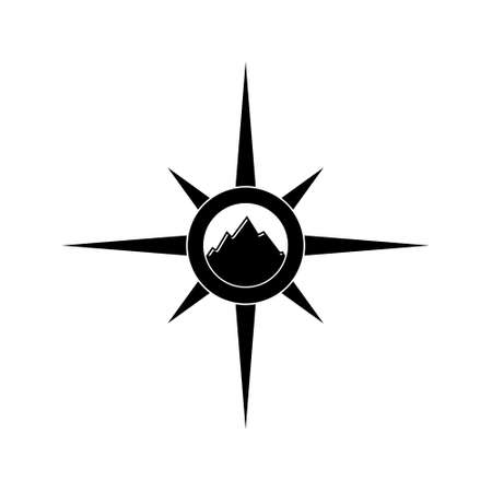 Mountain icon or logo, Compass sign