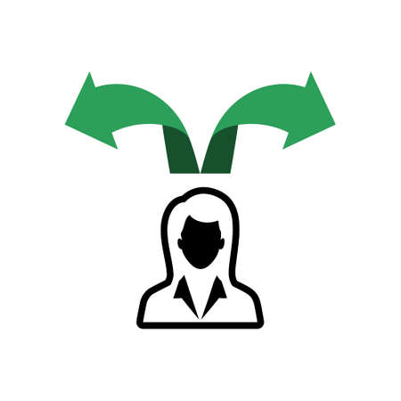 Woman making a choice icon or logo