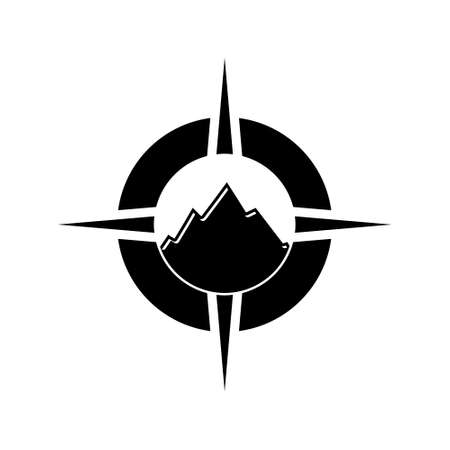 Mountain icon or logo, Compass sign 스톡 콘텐츠 - 155150829