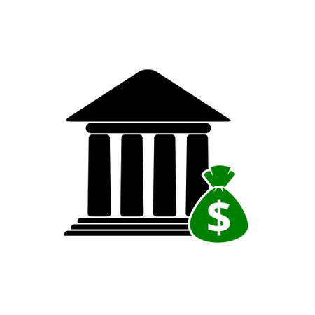 Bank building design, money bag icon or logo