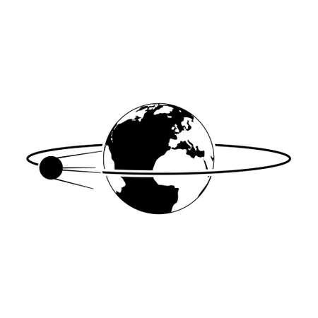 Satellite orbiting the Earth icon or logo