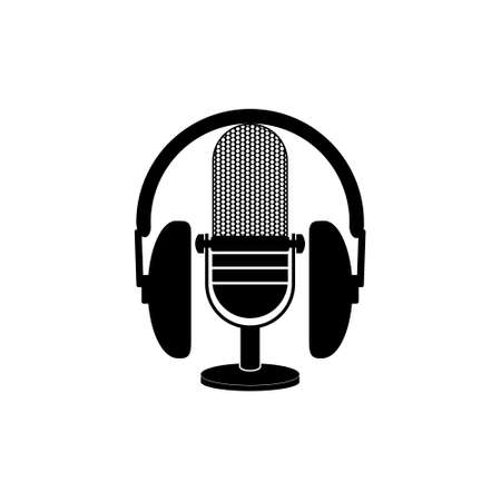 Vintage microphone and headphones icon or logo