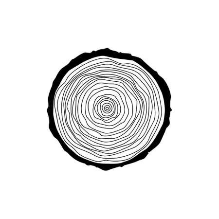 Stump icon or logo, Black tree rings icon