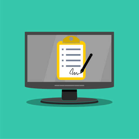 Online electronic documents, document with signature on computer screen