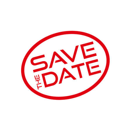 Red Save the date icon, sign, stamp or button Stock fotó - 155369201