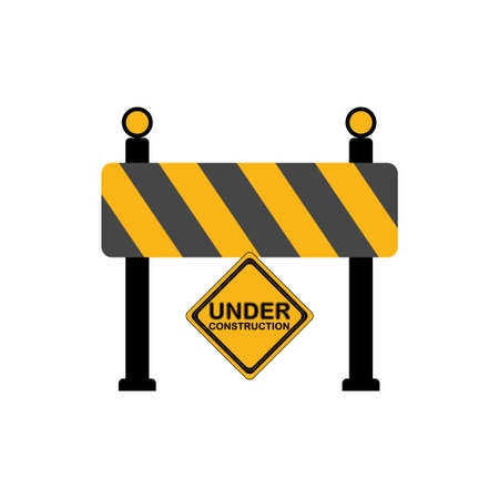 Road block sign, Under construction icon Stock Illustratie