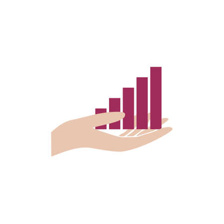 Hand with statistics arrow, icon, sign, logo 일러스트