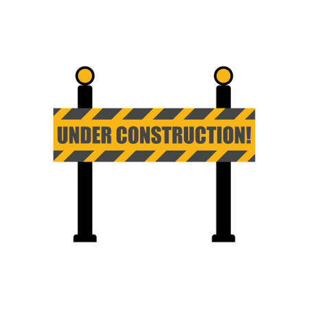 Road block sign, Under construction icon 일러스트
