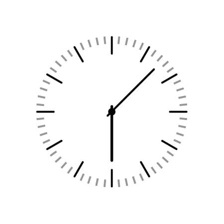Simple classic round wall clock, icon sign Ilustração