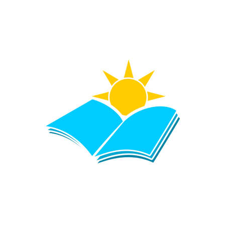 Book and sun icon or logo Illustration