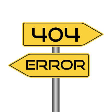 404 error road sign, word 404 error, simple icon