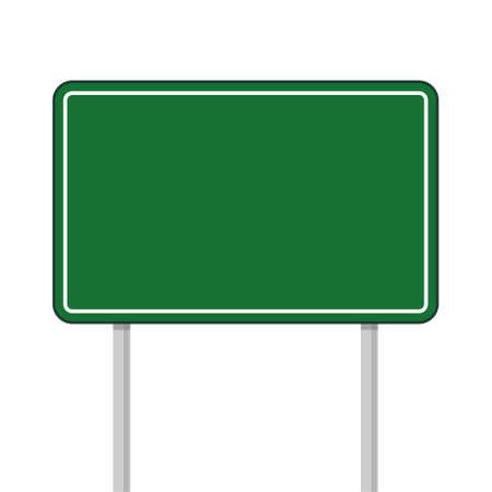 Road green traffic sign, Highway or street city sign on white background Векторная Иллюстрация