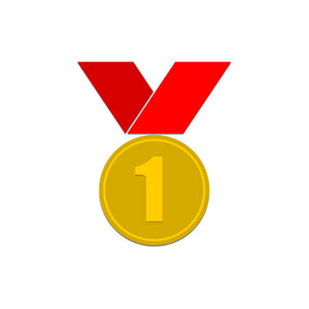 Number 1 winner ribbon award badge, Gold medal Vettoriali