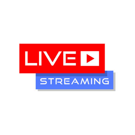 Live streaming icon - red and blue design element with play button