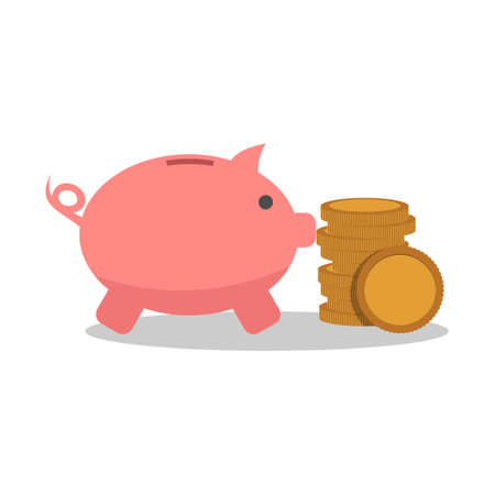 Piggy bank and coins icon or sign