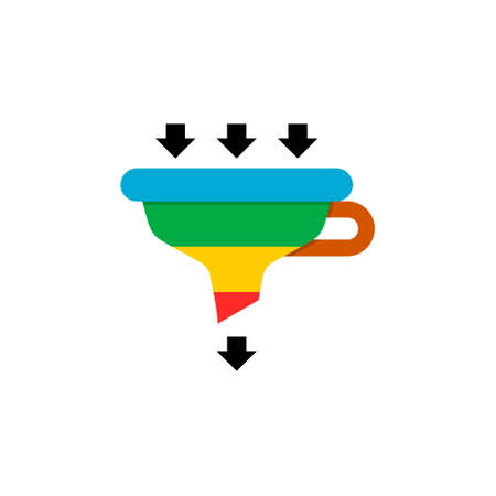 Sales lead funnel flat icon with arrows