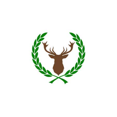 Silhouette head deer, Deer head illustration icon, Laurel