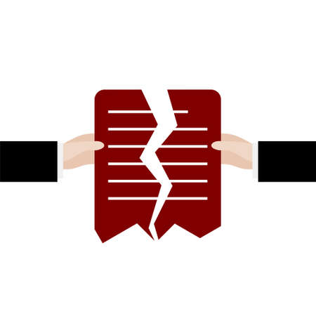 Torn document, Cancellation of contract or agreement sign  イラスト・ベクター素材