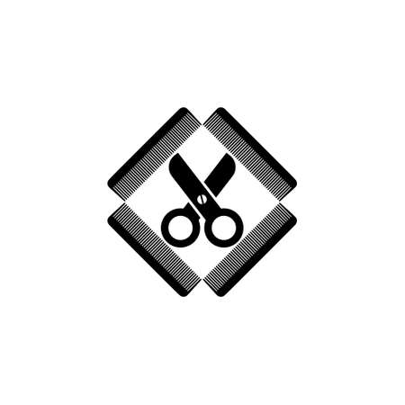 Comb and scissors icon or sign, barber shop