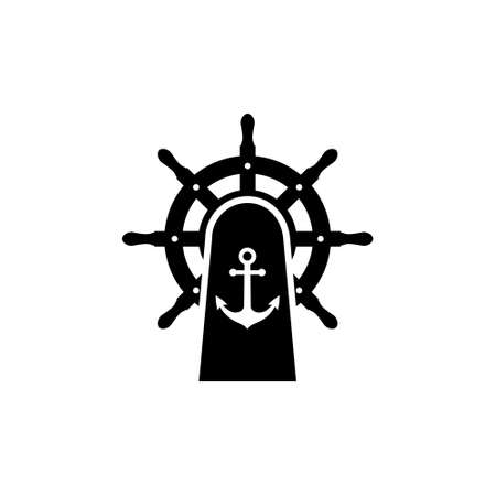 Steering wheel and anchor icon