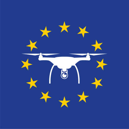 European rules for drone aerial aircraft law, drone concept Vecteurs