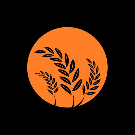 Wheat and the sunset icon Ilustrace
