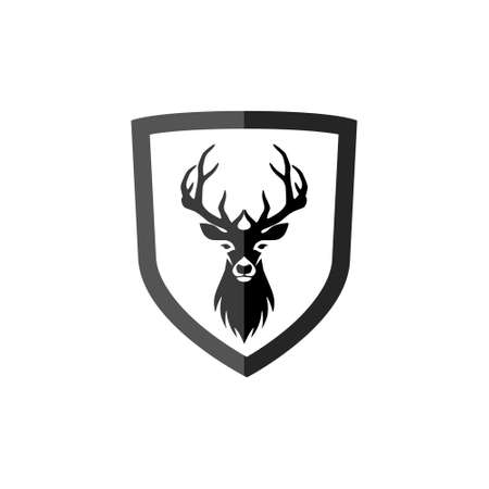Deer head silhouette on white background, simple icon