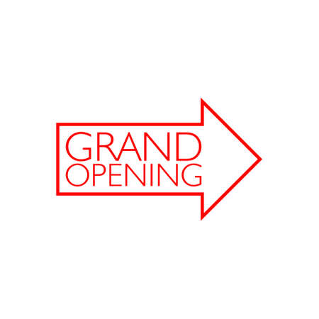 Red Grand Opening invitation label lettering 일러스트