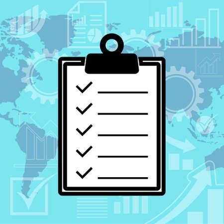 Checklist with checking off tasks, globe background 일러스트