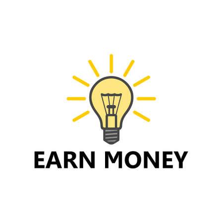 Earn Money icon, Lightbulb icon