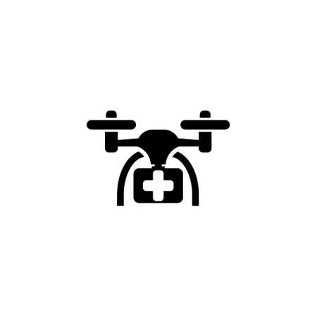 Drone with first aid kit icon