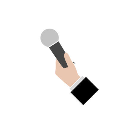 Hand holding microphone icon