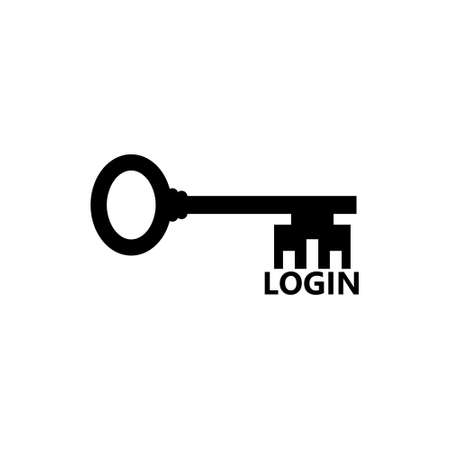Login key isolated on white background. Login, password security concept